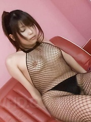 Yuuno Hoshi Asian gets fingers and vibrator through fishnets