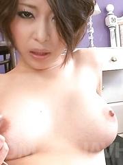 Saki Ootsuka Asian sucks and strokes dick and gets vibrator