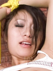 Nana Kunimi Asian with tied hands gets boner again and again