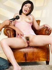 Megumi Haruka Asian is turned on with vibrators on cunt till cums