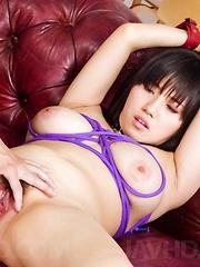 Azusa Nagasawa with big tits in ropes gets orgasm from vibrator