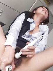 Chie Inamori Asian gets double nooky pleasure from vibrators