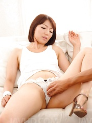 Izumi Manaka Asian gets fingers in willing cunt and rides tool