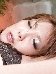 Yuna Hirose Asian busty has asshole fucked with dildo and penis