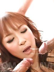 Misa Kikouden Asian sucks two hard dicks and rides fake cock