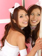 Reika Miki Asian is such cute kitten in white fluffy lingerie