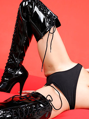 Sayuri Ono Asian in long boots is batwoman ready for victims