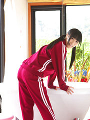 Yuri Hamada Asian slowly takes her sports equipment off for you