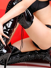 Sayuri Ono Asian is lustful bat girl in latex boots and lingerie