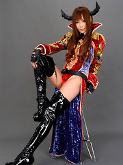 Sayuri Ono Asian looks amazing in long boots and traditional suit