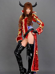 Sayuri Ono Asian poses so sexy in warrior suit and long boots