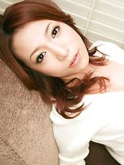Naughty and glam Kanako Tsuchiyo sucks cock and eats a load
