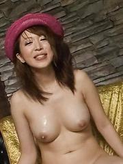 Sayaka Tsuzi Asian has cum on firm boobs after stroking woodies
