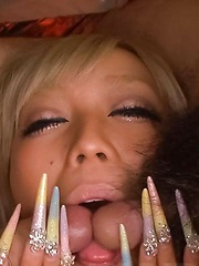 Rina Aina Asian gets vibrators in fine assets and cum on face