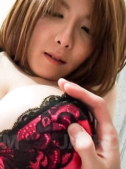 Yuna Hirose Asian busty has hairy peach fingered but wants penis