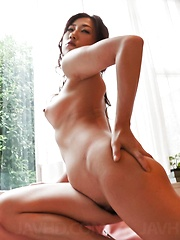 Yuu Uehara Asian has mouth filled with fingers and slit with dick