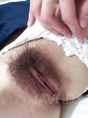 Miki Uemura Asian with hard nipples and hairy cooter sucks stiffy