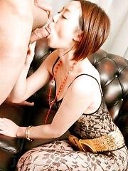 Rina Yuuki Asian rubs dick of her nipples and sucks crown jewels