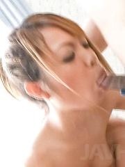 Chihiro Kobayashi Asian sucks dick and has slit licked on panty