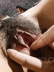 Chie Inamori Asian has hairy vagina aroused and sucks hard cock