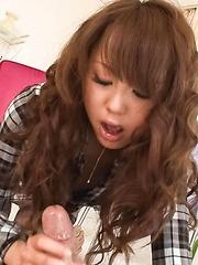 Jyunko Hayama Asian plays with tongue on balls and sucks boner
