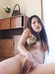 SAYA Asian plays with her juicy titties and teases dark poonanie