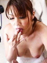 Hitomi Araki Asian has nipples pressed with chopsticks and sucked