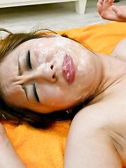 Yurina Asian sucks boner and gets vibrators in twat and on jugs