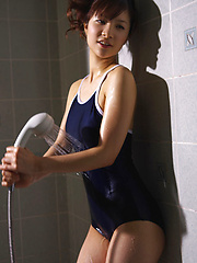 Cocoro Amachi Asian spoils hot body with shower over spandex suit