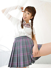 Mizuho Shiraishi Asian with pigtails and uniform sits with ass up
