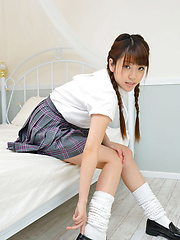 Mizuho Shiraishi Asian with pigtails is so playful in uniform
