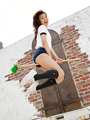 Kana Yuuki Asian with hot ass in shorts wants to fly on broom