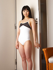 Kotone Moriyama Asian rubs her vagina in bath suit of chair edge