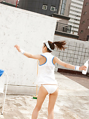 Kana Yuuki Asian takes tennis skirt off while playing with ball