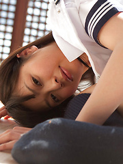 Yuuri Shiina Asian takes uniform off and shows body in gym suit
