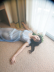 Neo Asian babe in see through dress is like goddess from ocean