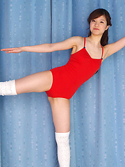 Cocoro Amachi Asian in red lingerie is happy during some exercise