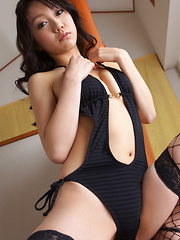 Tomoyo Hoshino Asian in sexy lingerie and fishnets is irrestible