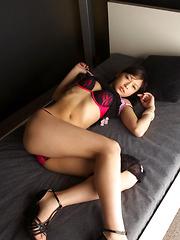 Rina Toiro Asian on heels has sexy legs and shows naughty ass