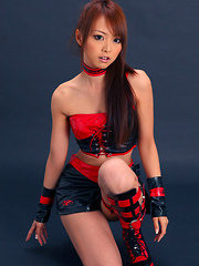 Momoka Narushima Asian looks best in red and black latex outfit
