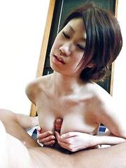 Huuka Takanashi Asian rubs her hairy cunt and dong between tits