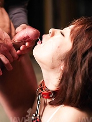 Rio Kagawa Asian in leash gets many dicks and sperm in mouth