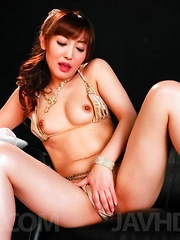 Mami Asakura Asian pours milk on hot cans and vibrator on pussy