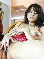 Airi Ai Asian pours oil on big jugs and pussy and fondles them