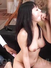 Nozomi Hatsuki Asian sucks balls and is fucked with vibrator