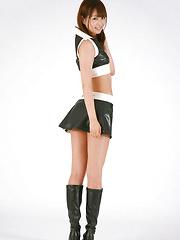 Shizuka Nakagawa Asian in boots shows nasty butt in short skirt