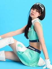 Tsukasa Arai Asian is sexy steward in short skirt and long boots