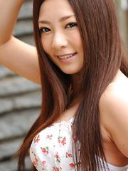 Minori Hatsune Asian in white stockings shows nude boobs outdoor