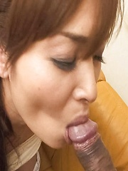 Hitomi Kanou Asian sucks cock and is fucked with vibrator in ass