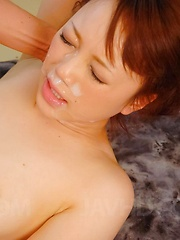 Nazuna Otoi Asian gets cum on forehead after is fucked in orgy